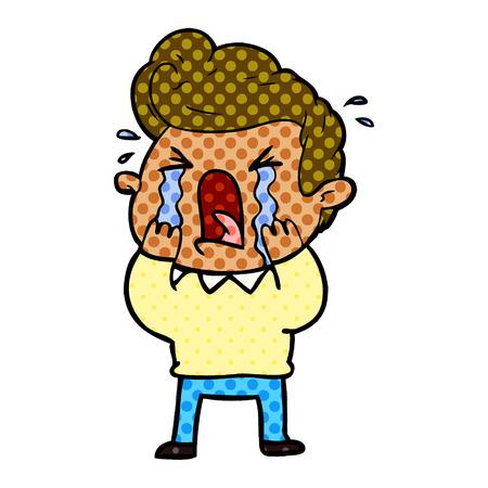 cartoon crying man Vector illustration. Ilustracja