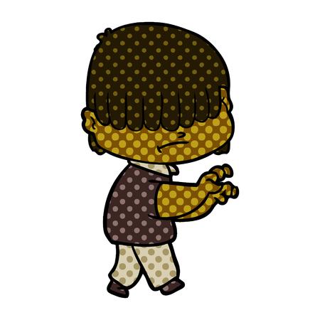 cartoon boy with untidy hair Illustration