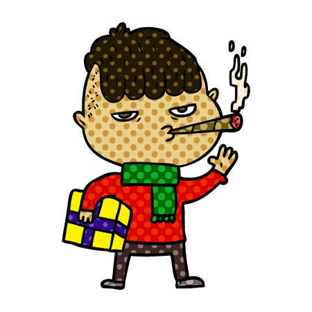 cartoon man smoking carrying christmas gift