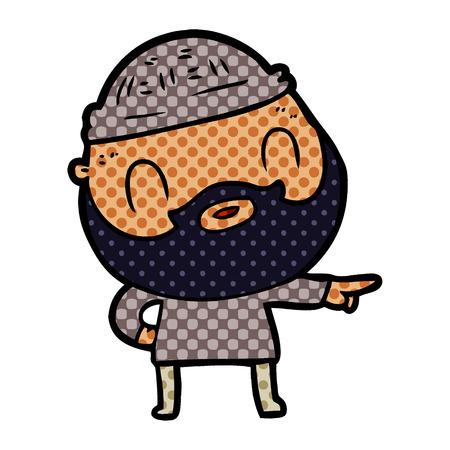 cartoon bearded man Vector illustration. Çizim