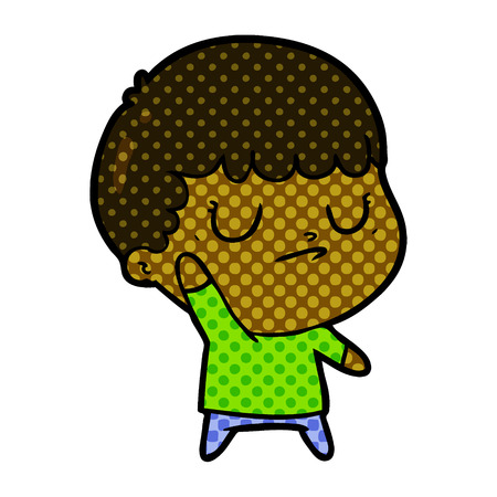 Cartoon grumpy boy illustration on white background. Illustration