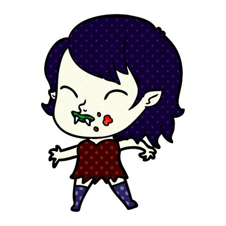 Illustration of a cartoon vampire girl with blood on cheek Banco de Imagens - 95380221