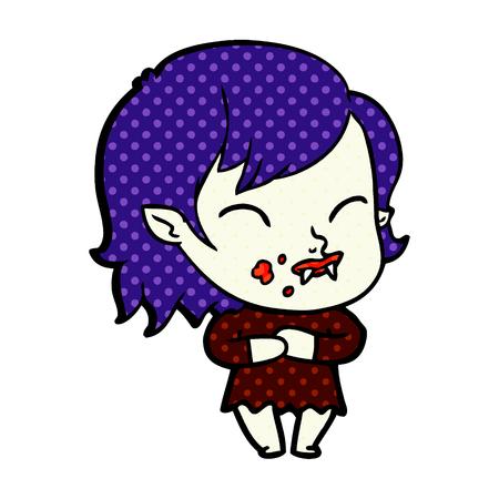 Cartoon vampire girl with blood on cheek Illustration