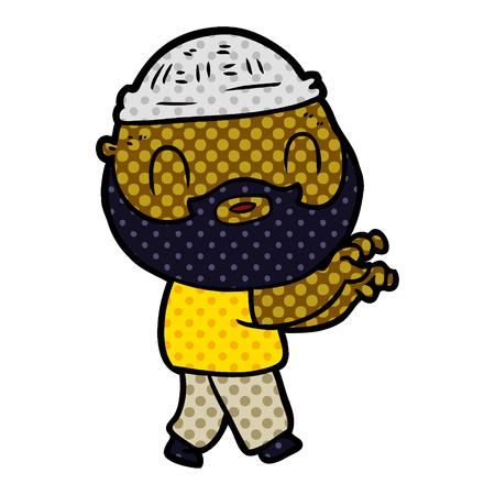 Cartoon bearded man vector illustration Çizim
