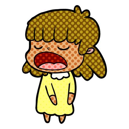 A cartoon woman talking loudly Illusztráció