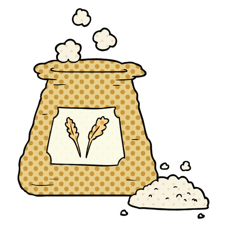 Cartoon bag of flour vector illustration
