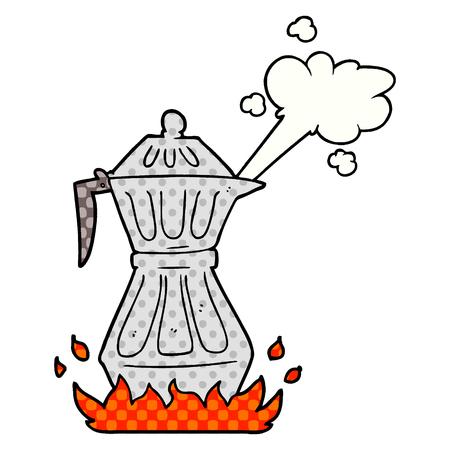 Cartoon steaming espresso pot vector illustration