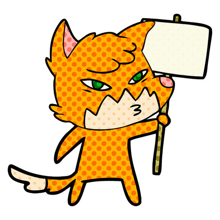 Clever cartoon fox Çizim