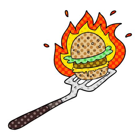 A cartoon flaming burger on spatula Ilustrace