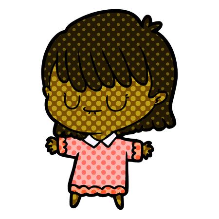 A relaxed cartoon woman