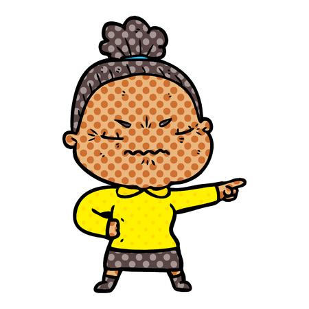 A cartoon annoyed old lady