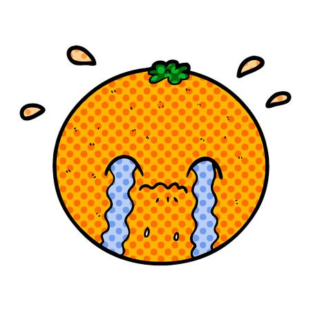 A crying cartoon orange Stock Illustratie