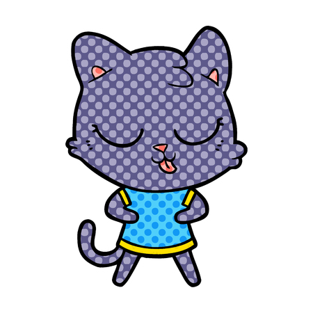 cartoon cat with tongue sticking out