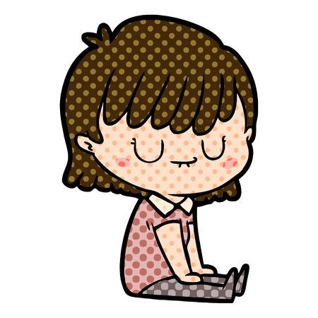 A cartoon calm woman sitting