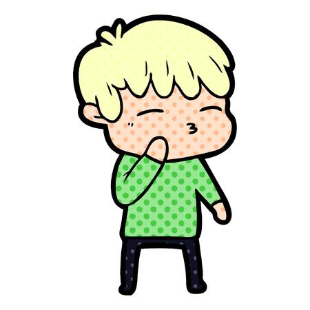 A cartoon curious boy