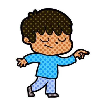 A cartoon relaxed happy boy Ilustração