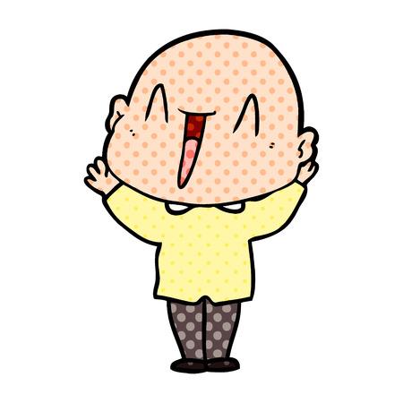Happy cartoon bald man vector illustration