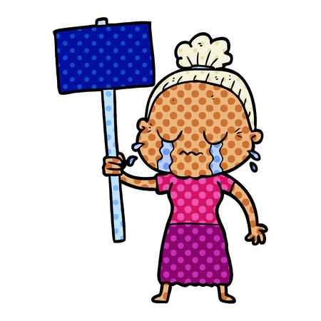 cartoon old woman crying while protesting