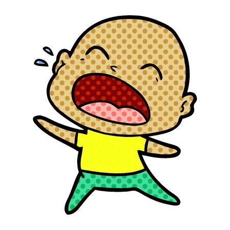 cartoon shouting bald man Stock fotó - 95407900