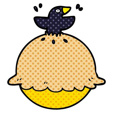 cartoon blackbird in a pie Vectores