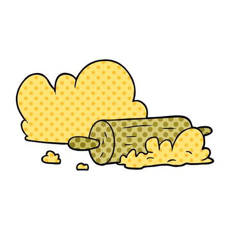 漫画のローリングピンと小麦粉ベクトルのイラスト