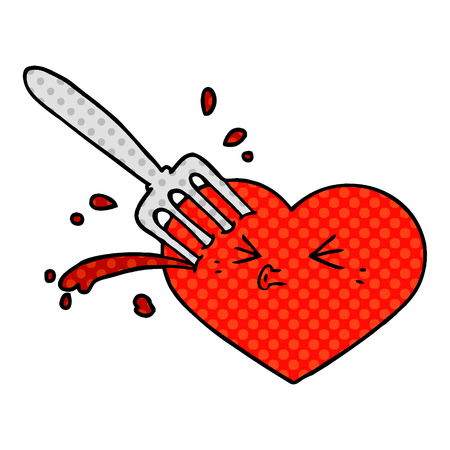 Cartoon heart stuck by a fork.