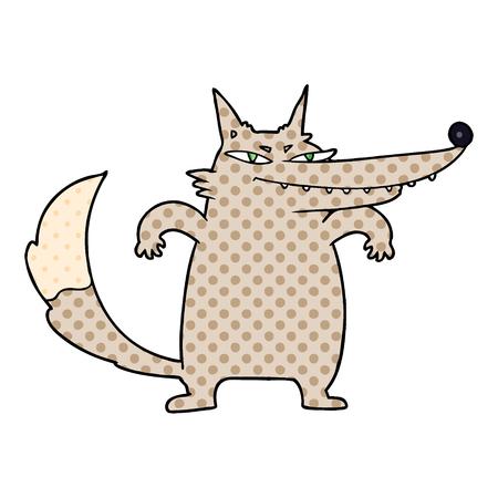 Sly cartoon wolf vector illustration