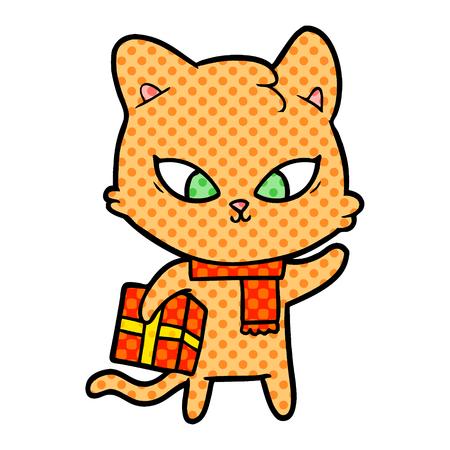 A cute cartoon cat with gift. Reklamní fotografie - 95446071