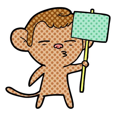 푯 말과 만화 의심스러운 원숭이