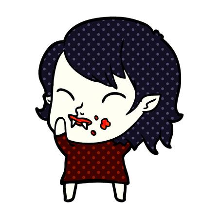 cartoon vampire girl with blood on cheek Stok Fotoğraf - 95432941