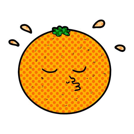 Naranja de dibujos animados con ilustración de vector de cara Foto de archivo - 95444748