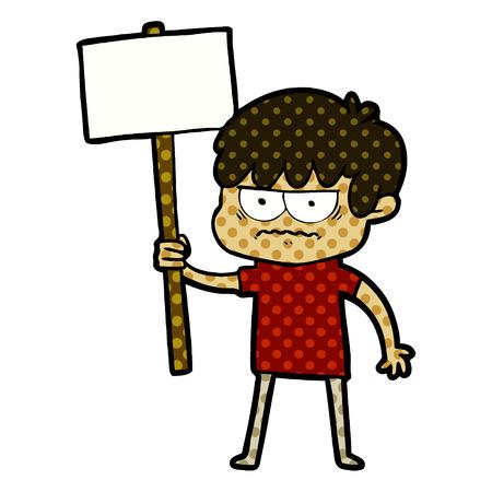 annoyed cartoon boy with sign