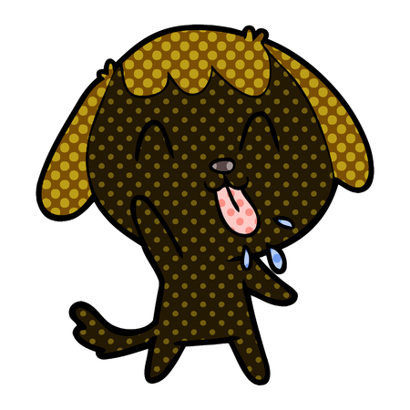 cute cartoon dog with tongue sticking out Illustration