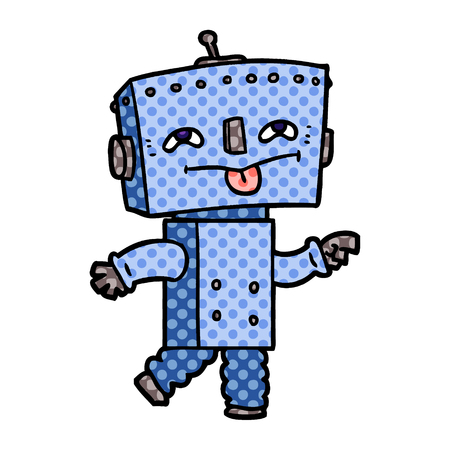cartoon robot with tongue sticking out Illustration