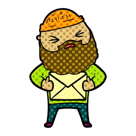 cartoon man with beard Illustration