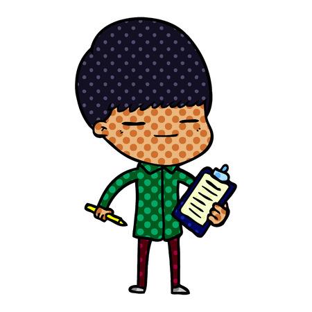 cartoon smug boy with clip board