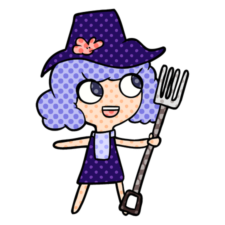 Animation character of farmer girl with fork vector illustration