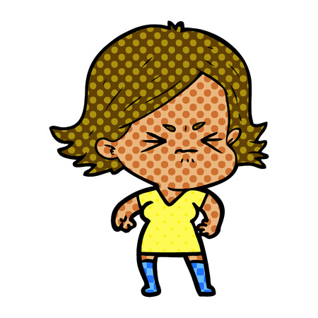 Animation character of angry woman vector illustration