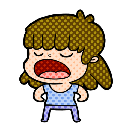 Animation character of woman talking loudly vector illustration 版權商用圖片 - 95411640