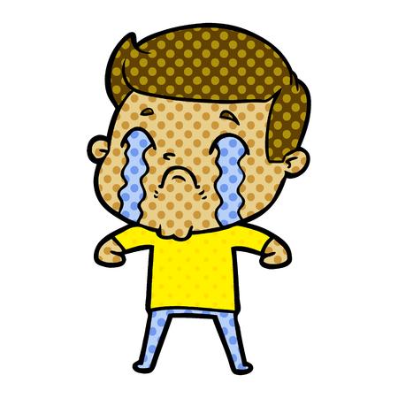 黄色いシャツと青いパンツベクターイラストを着て泣いている男のアニメーションキャラクター