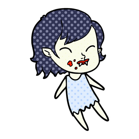Cartoon vampire girl with blood on cheek illustration on white background. Illusztráció