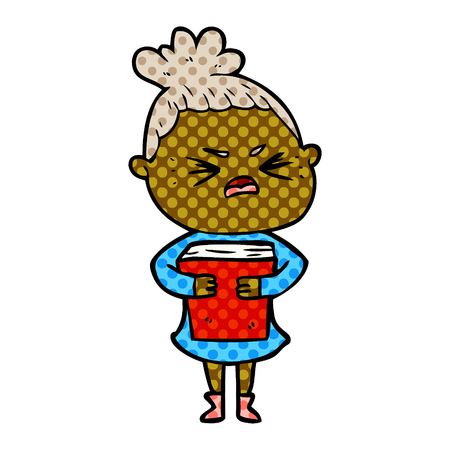 Animation character of angry woman carrying her book vector illustration