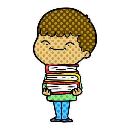 Animation character of happy boy with books vector illustration Иллюстрация