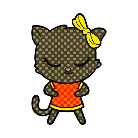 Animation character of a cute cat with bow vector illustration