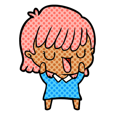 Animation character of a woman with pink hair vector illustration