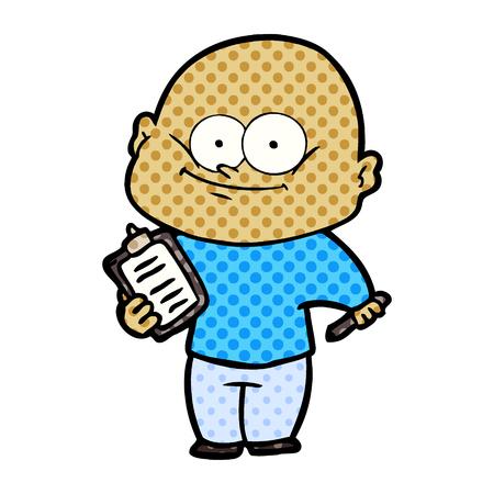 Animation character of bald man staring vector illustration Иллюстрация