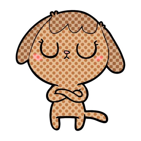 赤面頬ベクトルイラストを持つかわいい犬のアニメーションキャラクター