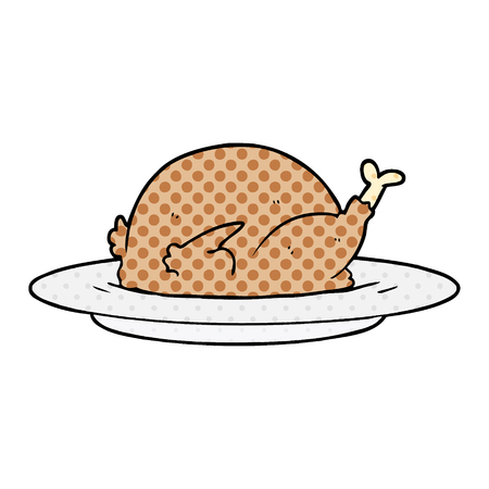 Animation cuisine of cooked turkey vector illustration 向量圖像