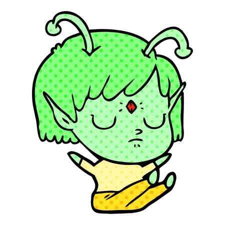 cartoon alien girl with eyes closed  イラスト・ベクター素材