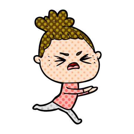 cartoon angry woman